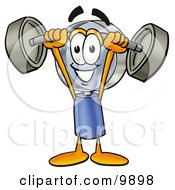 Clipart Picture Of A Magnifying Glass Mascot Cartoon Character Holding A Heavy Barbell Above His Head