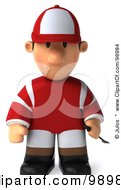 Royalty Free RF Clipart Illustration Of A 3d Jockey Man Facing Front And Pouting by Julos