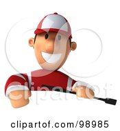 Royalty Free RF Clipart Illustration Of A 3d Jockey Man Over A Blank Sign by Julos