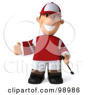 Royalty Free RF Clipart Illustration Of A 3d Jockey Man Facing Front And Gesturing Left by Julos