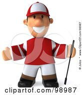 Royalty Free RF Clipart Illustration Of A 3d Jockey Man Holding His Arms Out by Julos