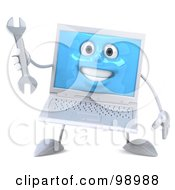 3d White Laptop Character Facing Front And Holding A Wrench