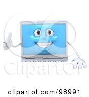3d White Laptop Character Holding A Thumb Up Over A Sign