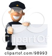 Royalty Free RF Clipart Illustration Of A 3d Police Toon Guy Presenting A Blank Sign 4 by Julos