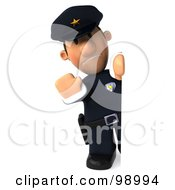 Royalty Free RF Clipart Illustration Of A 3d Police Toon Guy Presenting A Blank Sign 2 by Julos