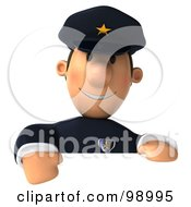 3d Police Toon Guy Presenting A Blank Sign - 1