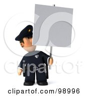 Royalty Free RF Clipart Illustration Of A 3d Police Toon Guy Presenting A Blank Sign 3