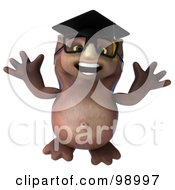 Royalty Free RF Clipart Illustration Of A 3d Owl Professor Jumping