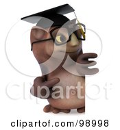 3d Owl Professor Pointing At A Blank Sign