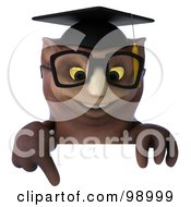 3d Owl Professor Pointing Down At A Blank Sign