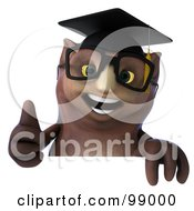 3d Owl Professor Holding A Thumb Up Over A Blank Sign