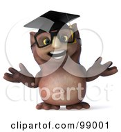 Royalty Free RF Clipart Illustration Of A 3d Owl Professor Facing Front