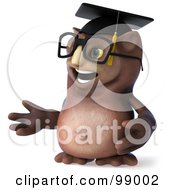 Royalty Free RF Clipart Illustration Of A 3d Owl Professor Facing Left