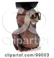 Royalty Free RF Clipart Illustration Of A 3d Owl Professor Facing Right