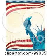 Royalty Free RF Clipart Illustration Of A Statue Of Liberty Background With Star Edges And Waves