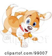 Royalty Free RF Clipart Illustration Of A Playful Tan And White Puppy Smiling
