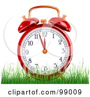 Royalty Free RF Clipart Illustration Of A Red Alarm Clock In Green Grass by Pushkin