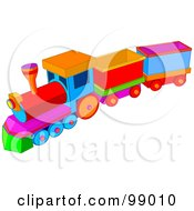 Royalty Free RF Clipart Illustration Of A Childs Colorful Toy Train With Carts by Pushkin