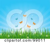 Royalty Free RF Clipart Illustration Of Butterflies Over Wild Flowers And Grass Under A Shining Sky