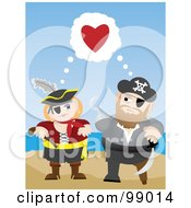 Royalty Free RF Clipart Illustration Of A Pirate Couple Adoring Each Other On A Beach by mheld