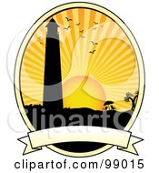 Royalty Free RF Clipart Illustration Of A Silhouetted Lighthouse Over A Blank Banner by mheld #COLLC99015-0107