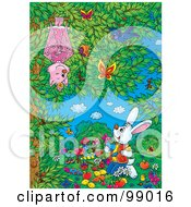 Royalty Free RF Clipart Illustration Of A Rabbit Painting Vegetables Under A Tree With A Bat Bird And Butterflies