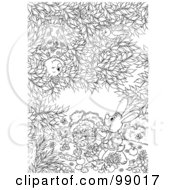 Royalty Free RF Clipart Illustration Of A Black And White Color Page Outline Of A Bat Bird And Bugs Watching A Rabbit Paint Veggies