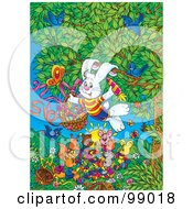 Royalty Free RF Clipart Illustration Of A Rabbit Delivering Painted Veggies To Other Forest Animals On Easter by Alex Bannykh