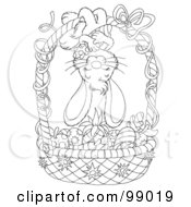 Royalty Free RF Clipart Illustration Of A Black And White Coloring Page Outline Of A Bunny Hanging Upside Down On An Easter Basket Of Colored Veggies