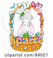 Royalty Free RF Clipart Illustration Of A Cute Easter Bunny Hanging Upside Down On An Easter Basket Of Colored Veggies