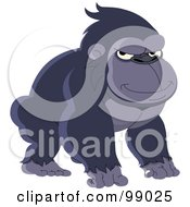 Royalty Free RF Clipart Illustration Of A Grouchy Gorilla Squinting by yayayoyo