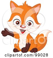 Royalty Free RF Clipart Illustration Of A Cute Little Fox Presenting With One Paw by yayayoyo #COLLC99028-0157