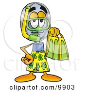 Clipart Picture Of A Magnifying Glass Mascot Cartoon Character In Green And Yellow Snorkel Gear by Toons4Biz