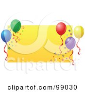 Royalty Free RF Clipart Illustration Of A Yellow Rectangle With Star Glitter And Party Balloons by yayayoyo