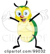 Cute Yellow And Green Beetle Holding Up His Arms