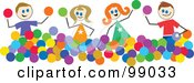 Royalty Free RF Clipart Illustration Of Stick Children Playing With Balls by Prawny