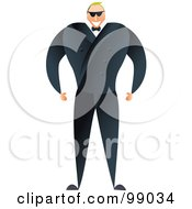 Royalty Free RF Clipart Illustration Of A Male Bouncer In A Black Suit