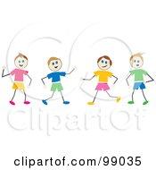 Royalty Free RF Clipart Illustration Of Stick Boys