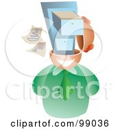 Royalty Free RF Clipart Illustration Of A Businessman With A File Brain