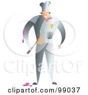 Royalty Free RF Clipart Illustration Of A Messy Chef In A Gray Uniform by Prawny