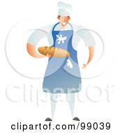 Royalty Free RF Clipart Illustration Of A Male Baker Wearing A Messy Blue Apron And Holding Bread by Prawny