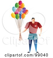 Male Balloon Man Holding A Bunch Of Party Balloons