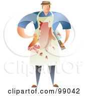 Royalty Free RF Clipart Illustration Of A Blood Covered Male Butcher Carrying Meat