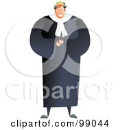 Royalty Free RF Clipart Illustration Of A Male Barrister Judge In A Black Robe