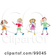 Royalty Free RF Clipart Illustration Of Stick Children Brushing Their Teeth