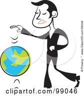Royalty Free RF Clipart Illustration Of A Man In Black Bouncing A Globe Ball by Prawny