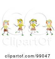 Royalty Free RF Clipart Illustration Of Stick Girl Scouts by Prawny #COLLC99047-0089