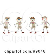 Royalty Free RF Clipart Illustration Of Stick Boy Scouts by Prawny