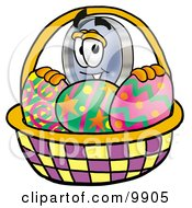 Clipart Picture Of A Magnifying Glass Mascot Cartoon Character In An Easter Basket Full Of Decorated Easter Eggs by Toons4Biz
