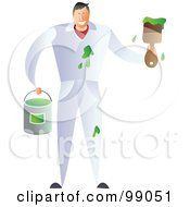Royalty Free RF Clipart Illustration Of A Male Painter Making A Mess With Green Paint